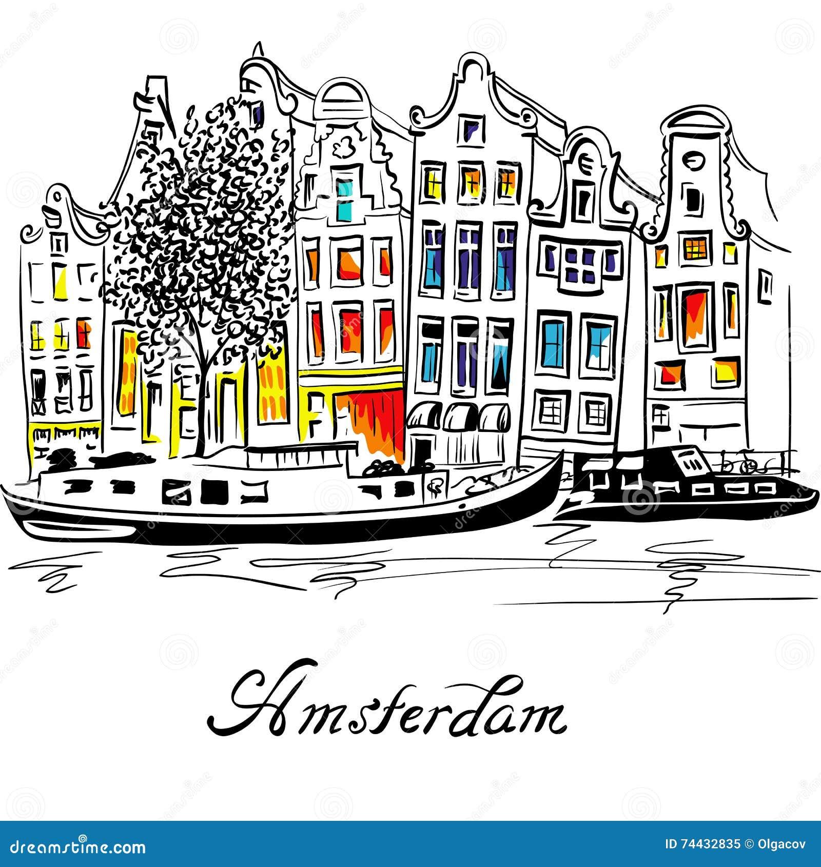 Canal de Amsterdam del vector y casas holandesas típicas