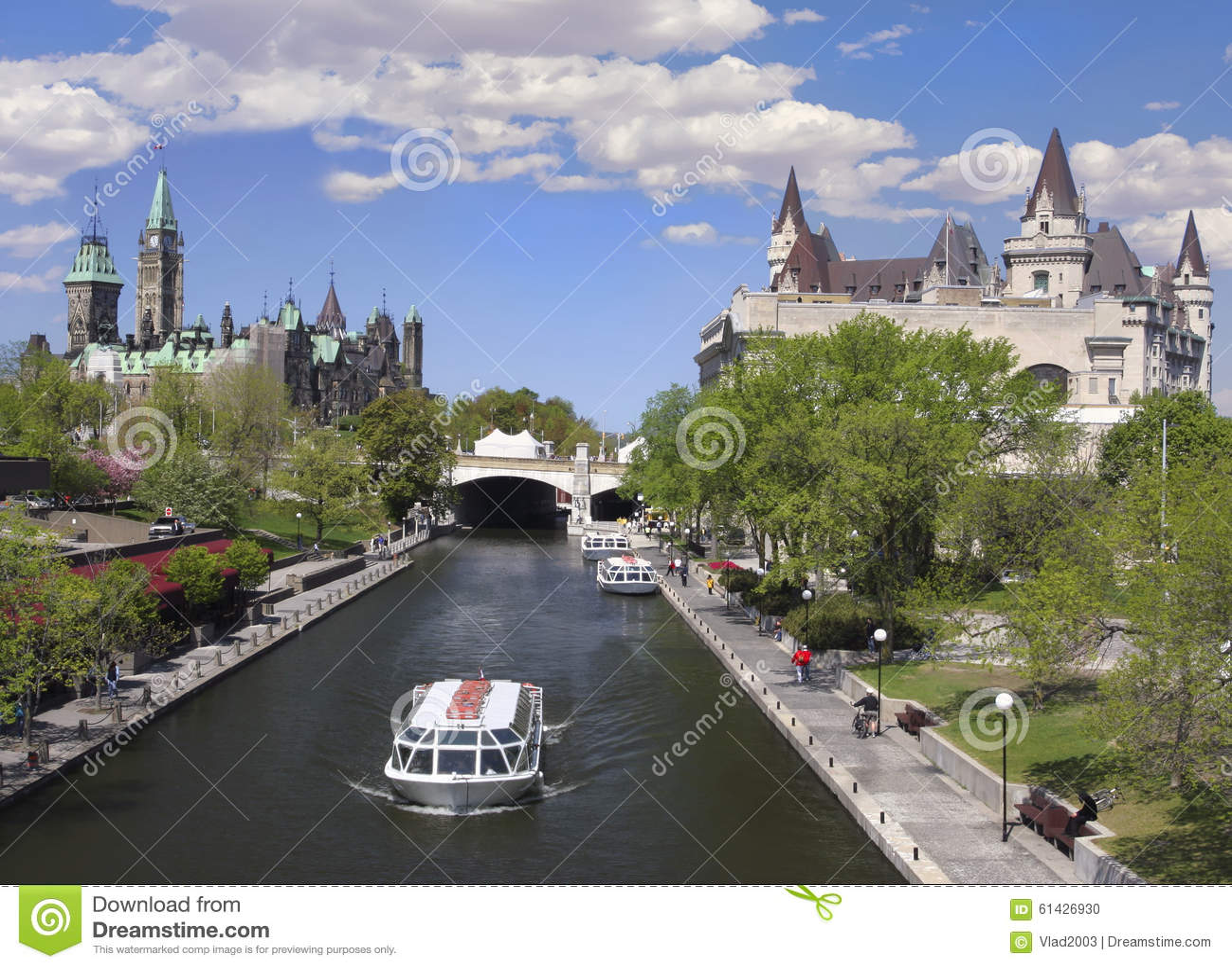 Canal de Rideau, o parlamento de Canadá, Ottawa