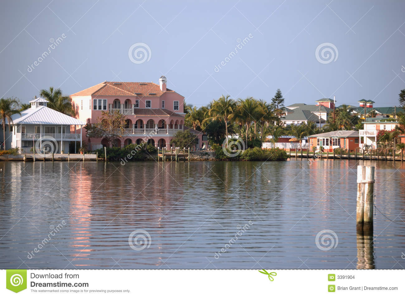 Canal front home fort myers fl stock images image 3391904 for Canal front house plans