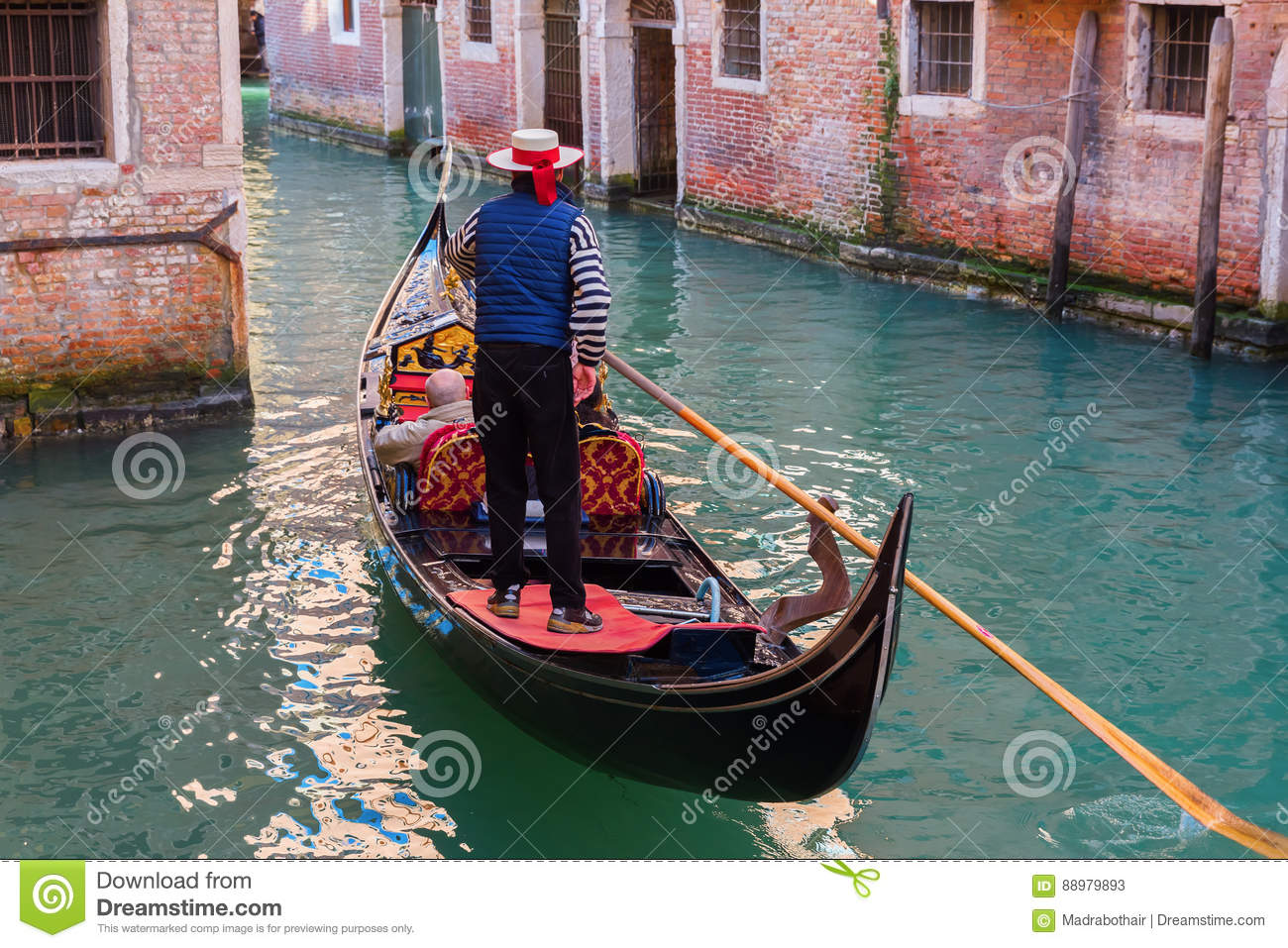 Canal With Gondolas In Venice Italy Editorial Stock Photo