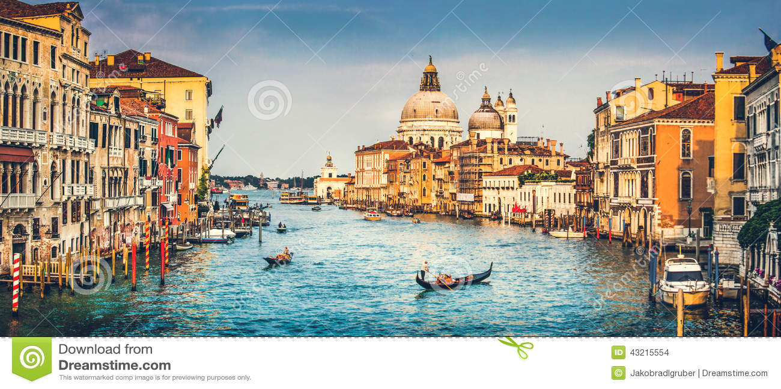 Canal Grande and Basilica di Santa Maria della Salute at sunset in Venice, Italy