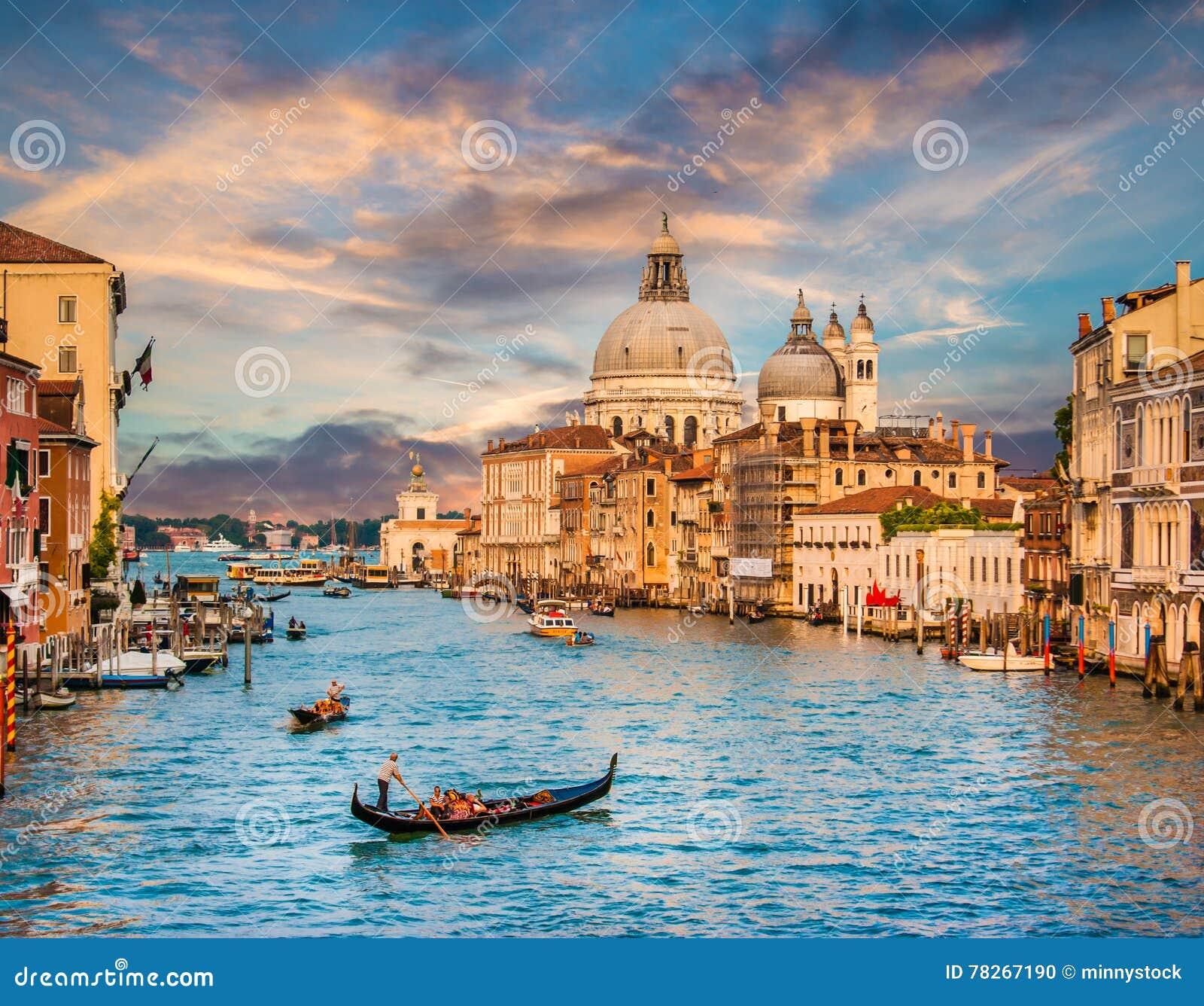 Canal Grande with Santa Maria Della Salute at sunset, Venice, Italy