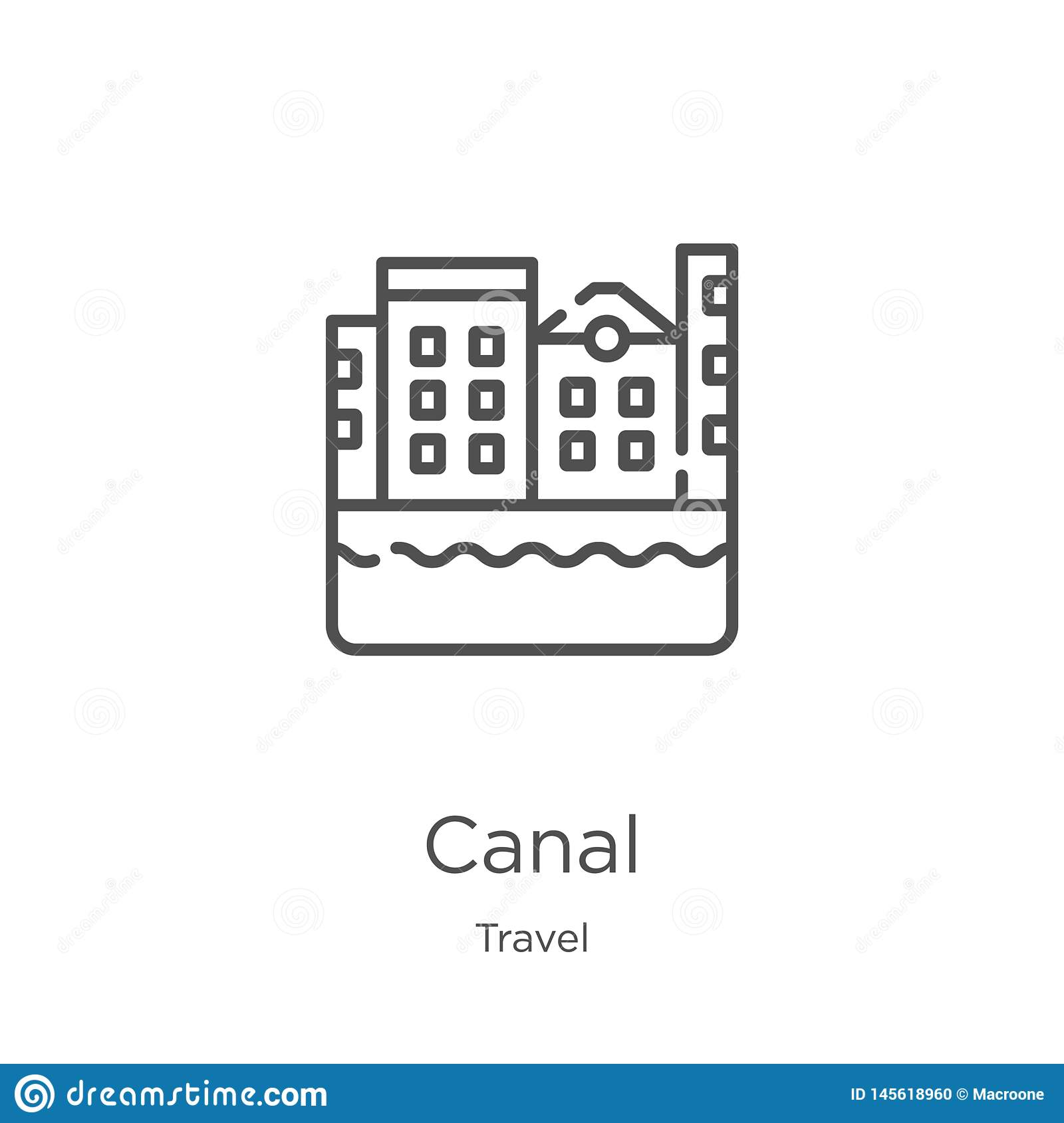 canal icon vector from travel collection. Thin line canal outline icon vector illustration. Outline, thin line canal icon for