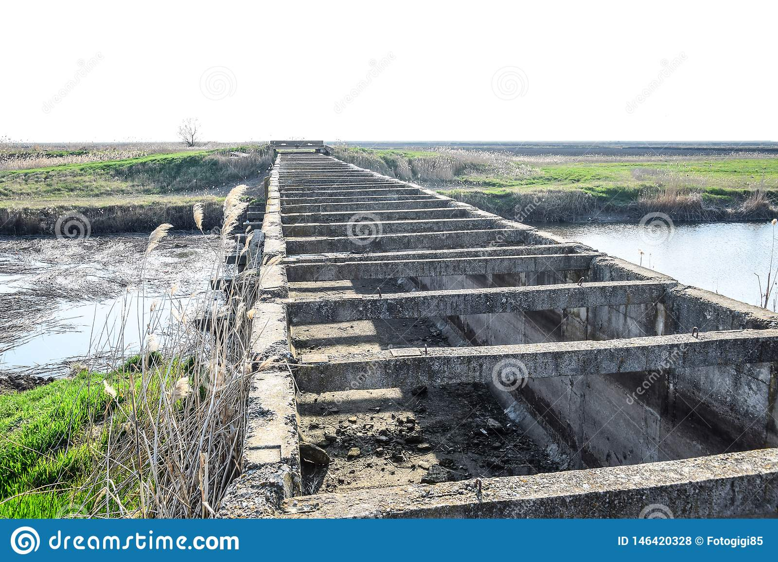 Canal irrigation system rice fields. Concrete tunnel for irrigation canal