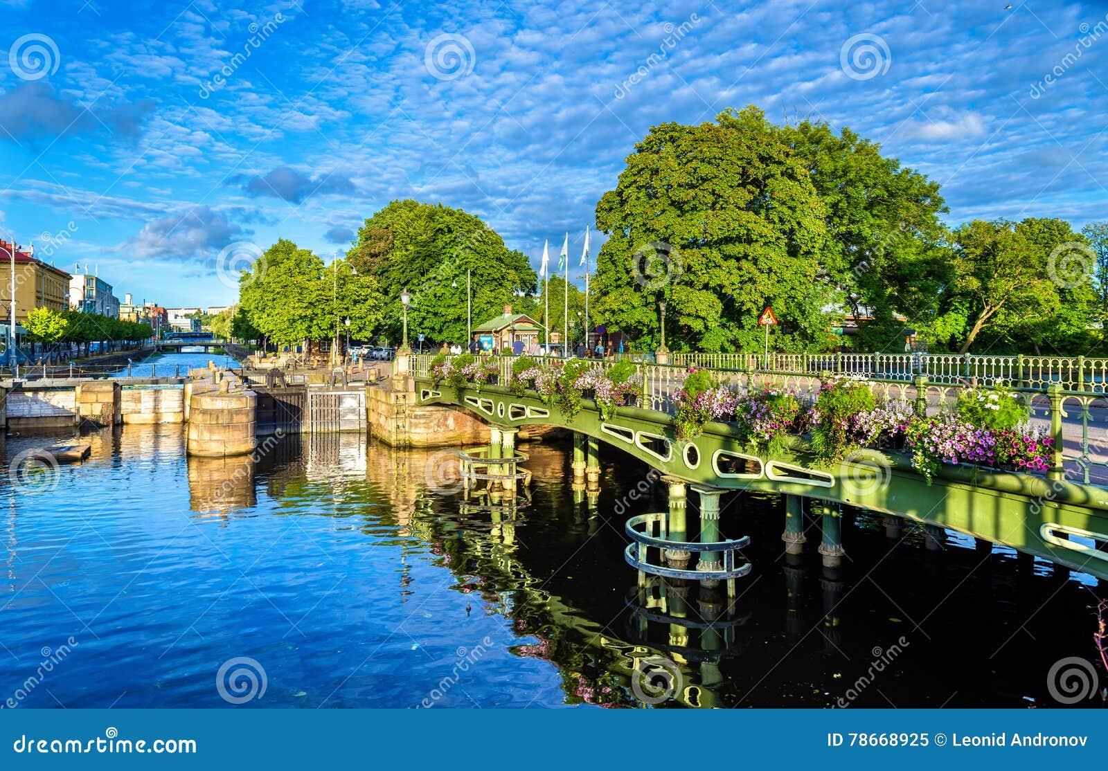 Canal no centro histórico de Gothenburg - Suécia
