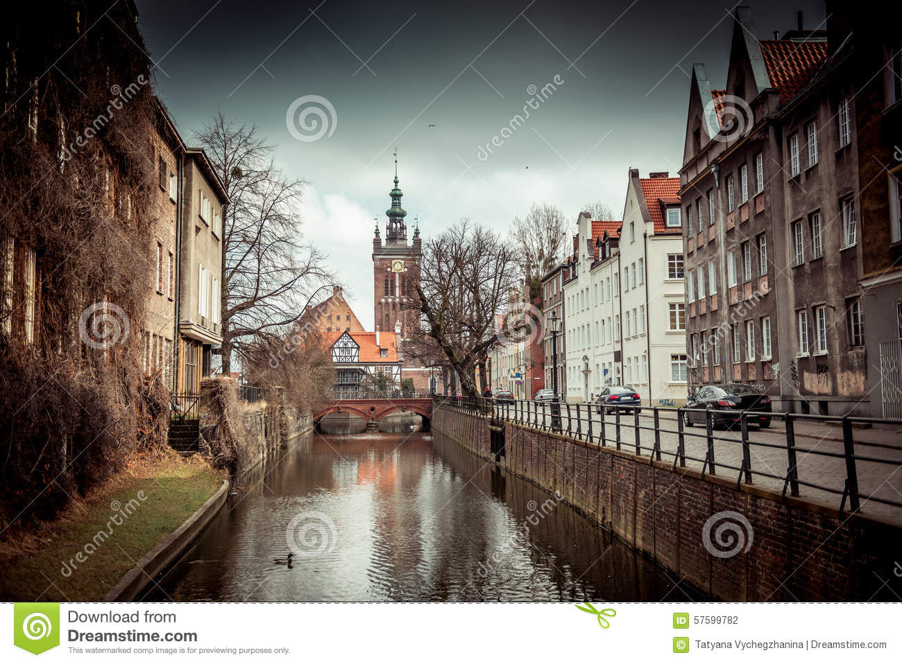 Canal In The Old Town Of Gdansk, Poland Stock Photo - Image: 57599782