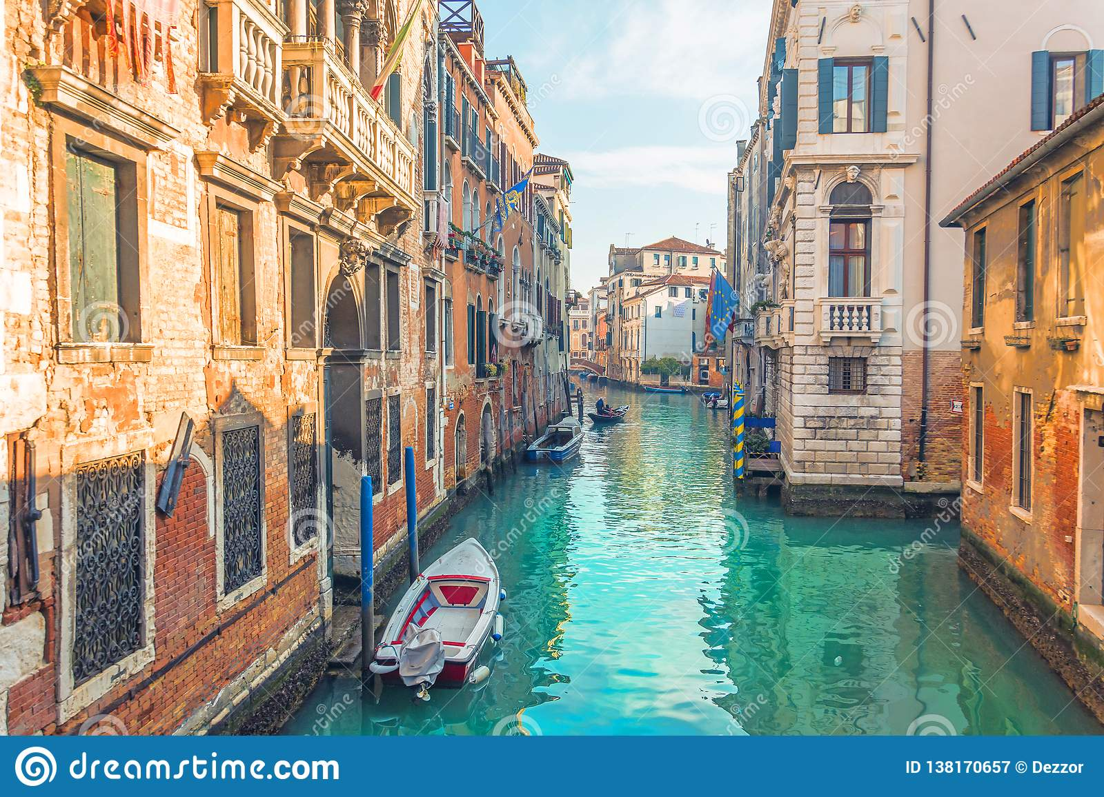 Canal in Venice, view of the architecture and buildings. Typical urban view