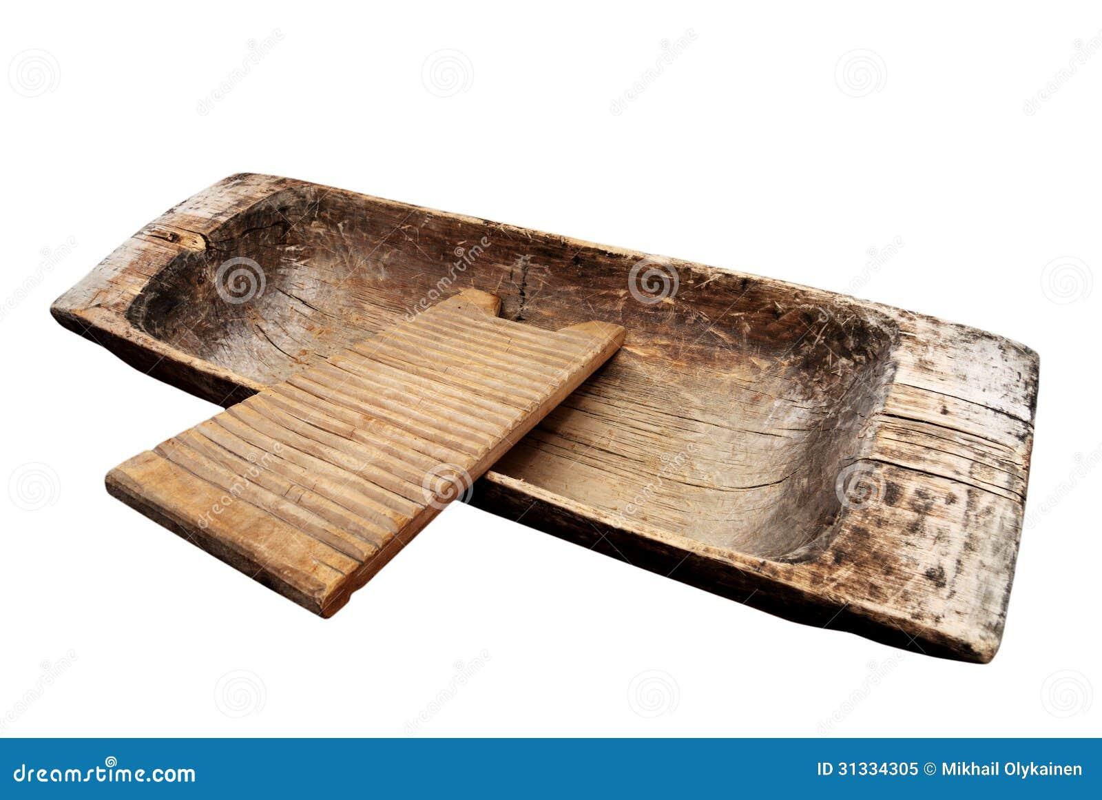 Canal y lavadero de madera viejos en un blanco foto de for Lavadero metalico
