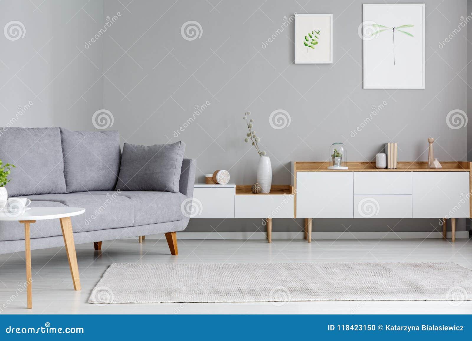 Canape Gris Pres Du Placard Blanc Dans Le Salon W Interieur
