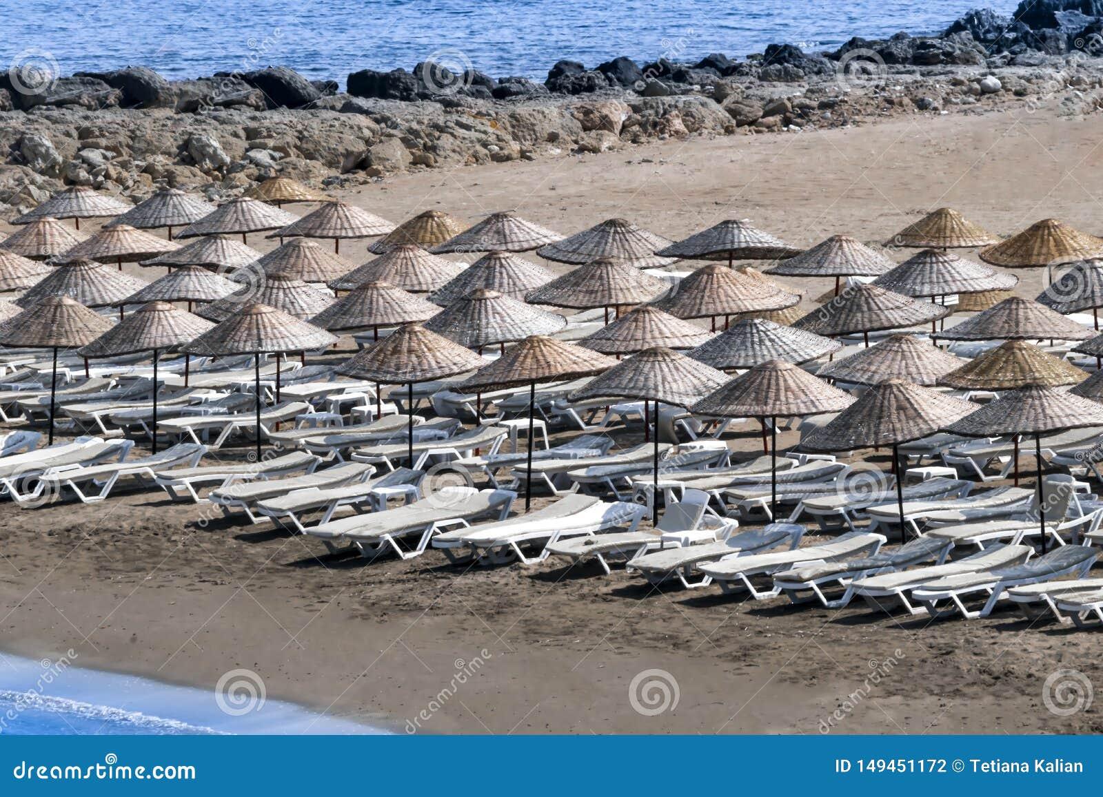Canapés et parapluies de Sun sur la plage un matin ensoleillé d été
