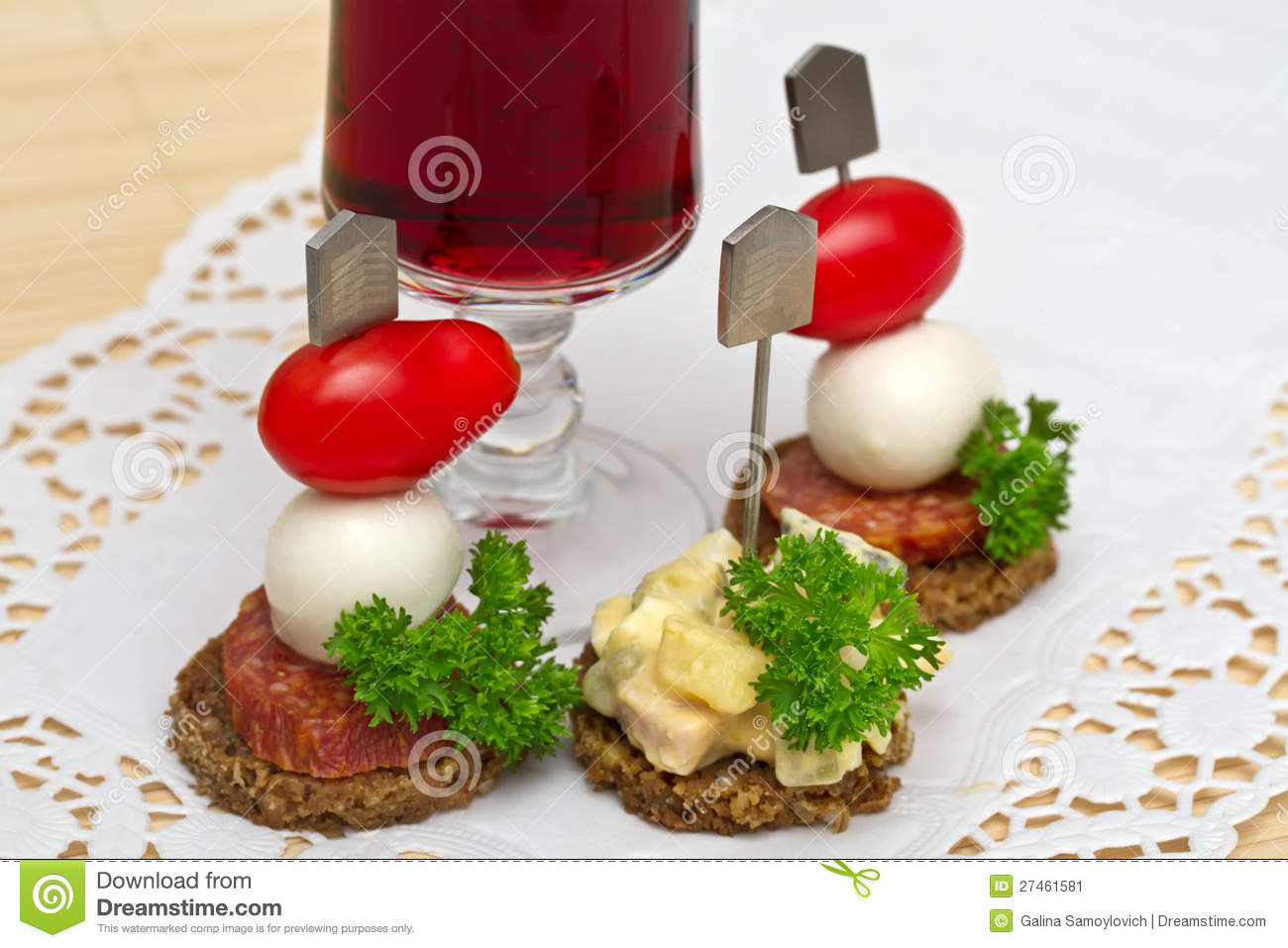 Canape stock image image 27461581 for Mozzarella canape
