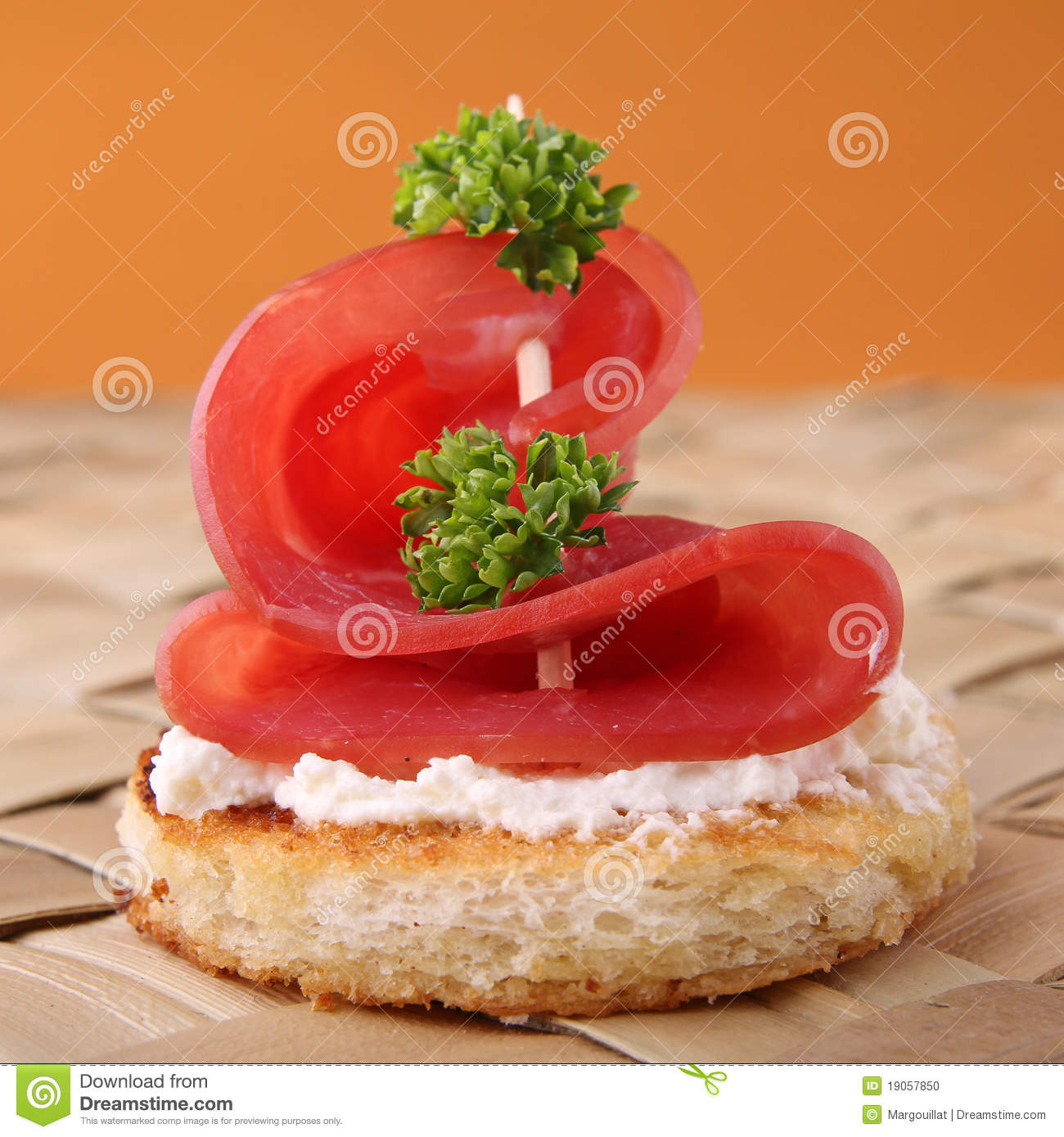 Canape appetizer stock photo image 19057850 for Appetizer canape