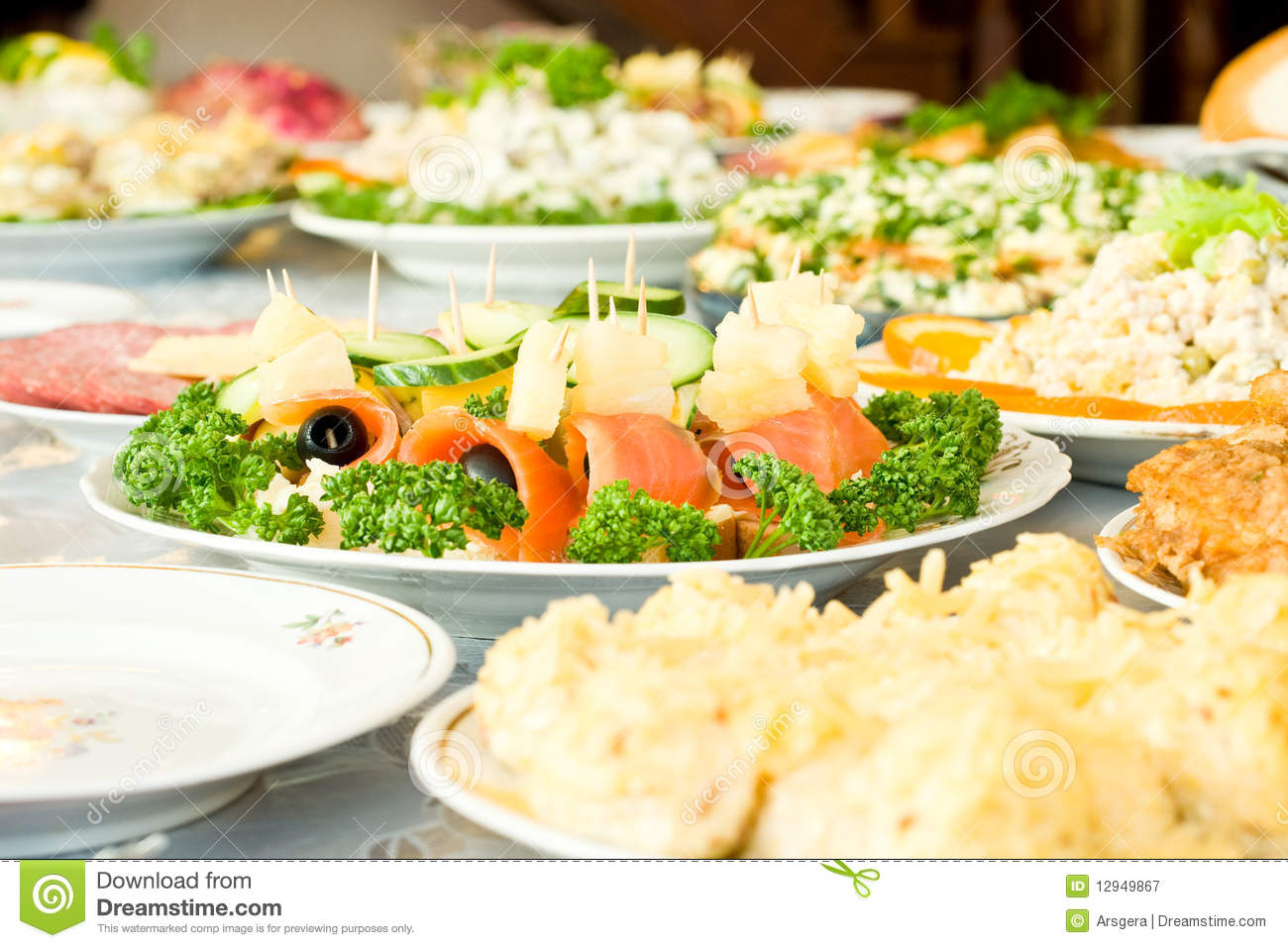 Canape banquet in the restaurant royalty free stock for Canape banquette