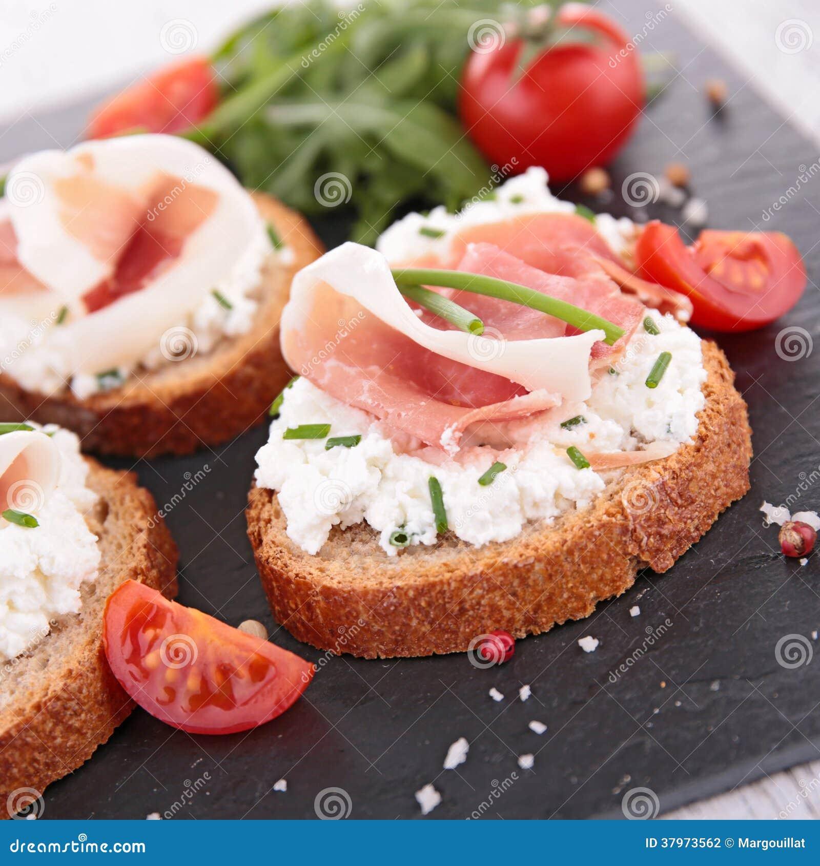 Canape bread and prosciutto stock photography image for Prosciutto canape