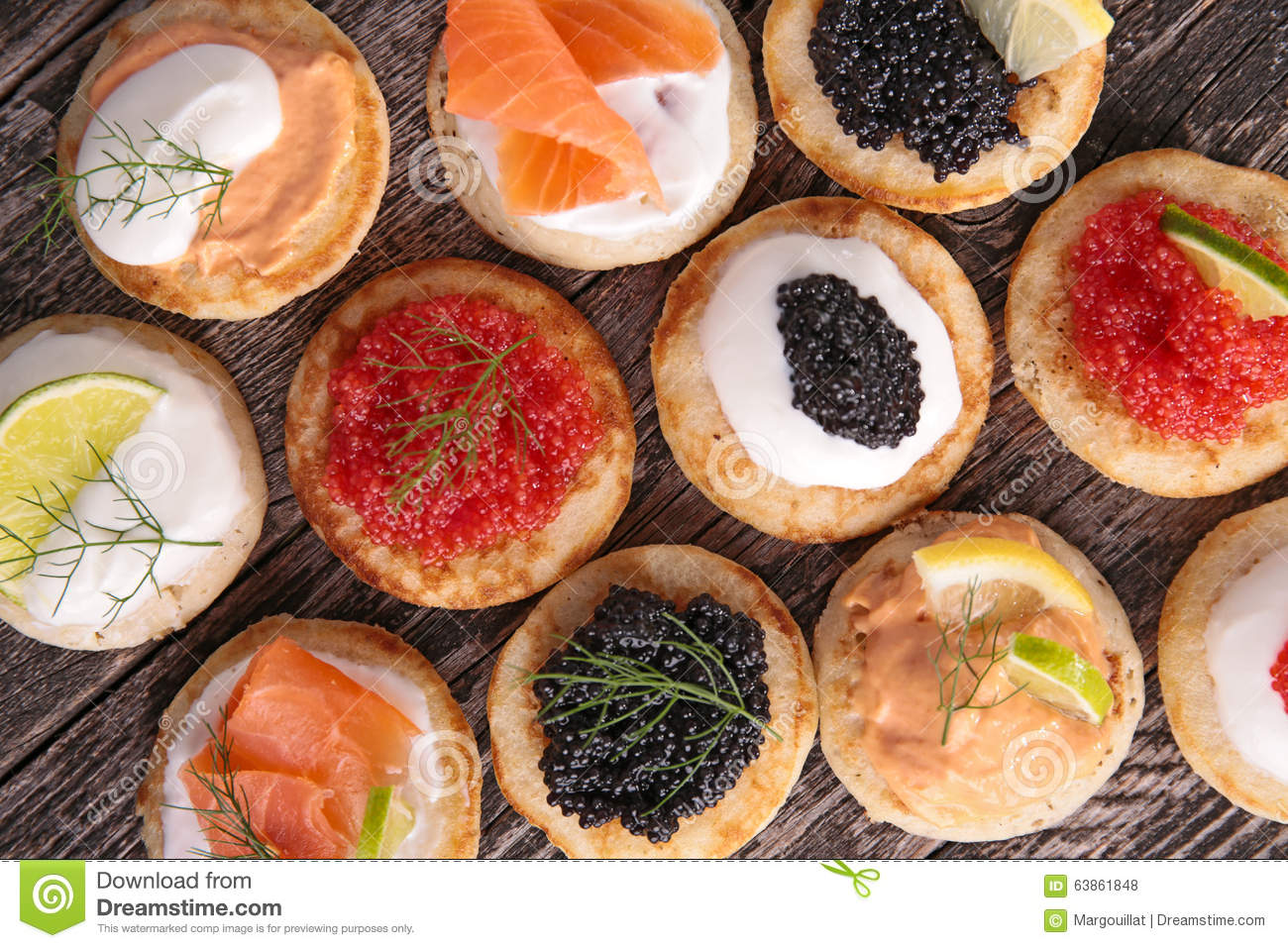 Canape with caviar and salmon stock photo image 63861848 for Canape with caviar