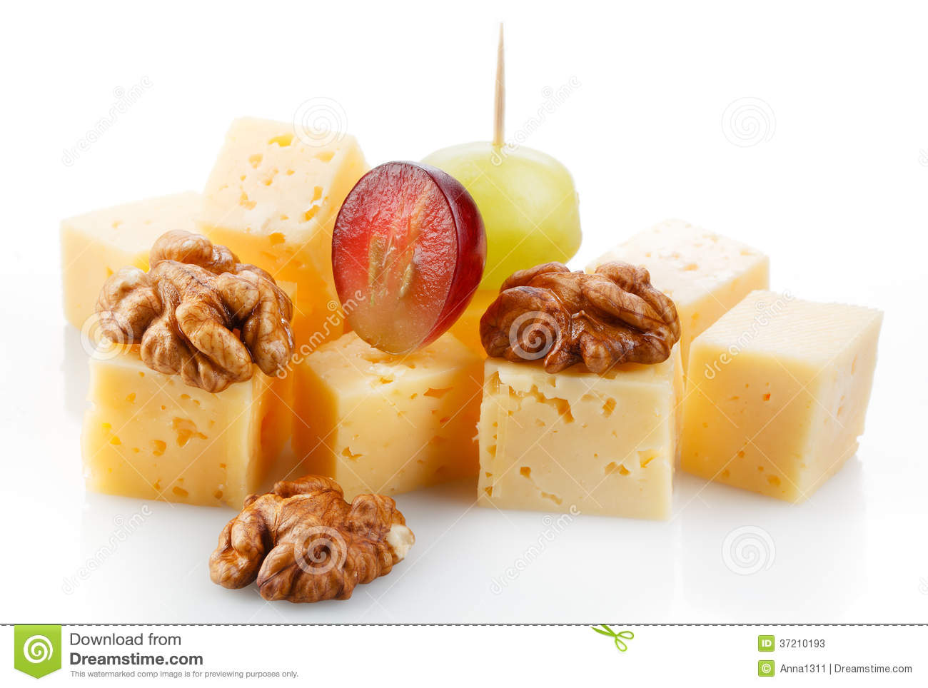 Canape with cheese grape olive and nuts macro stock for Canape with cheese