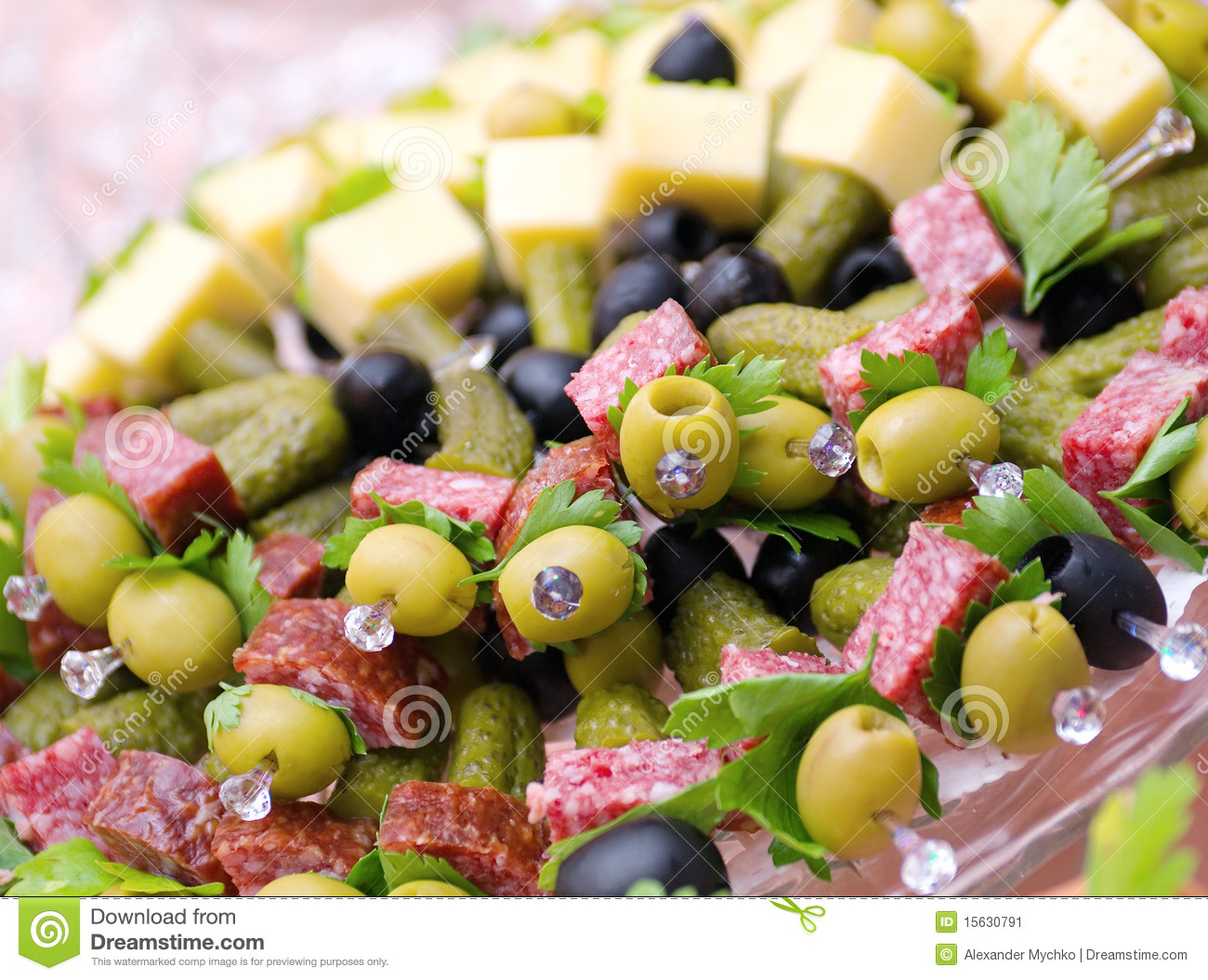 Canape with cheese salami olive stock image image 15630791 for Canape with cheese