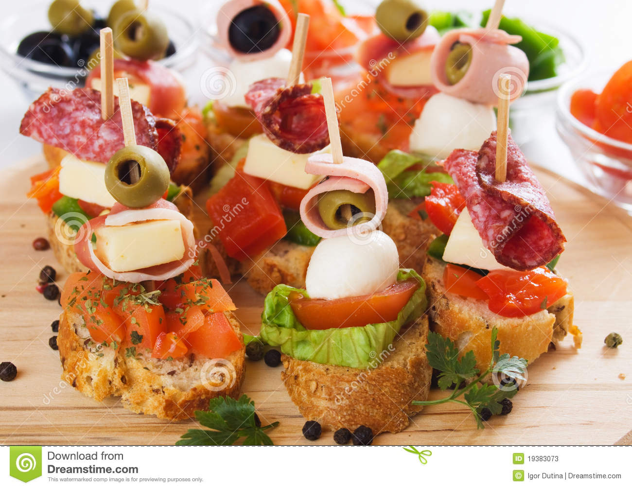 Canape with italian food ingredients stock photos image for Canape ingredients
