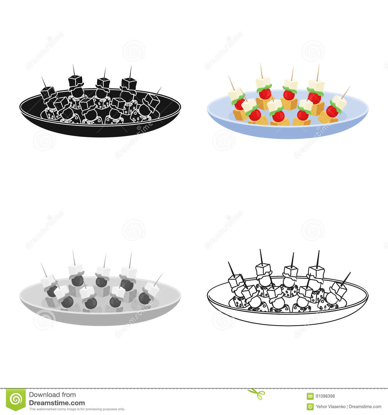 Canape on the plate icon in cartoon style isolated on for Canape vector download