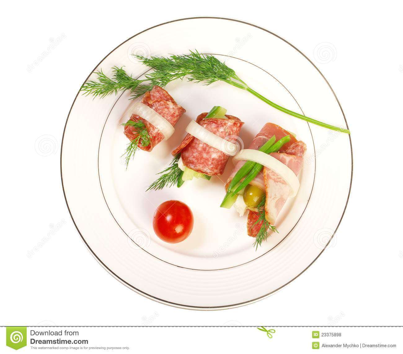 Canape platter with cheese smoked sausage royalty free for Canape platters
