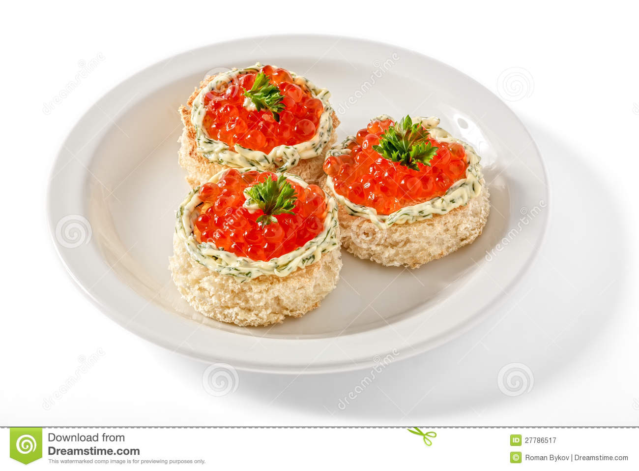 Canape with red caviar royalty free stock photography for Canape with caviar