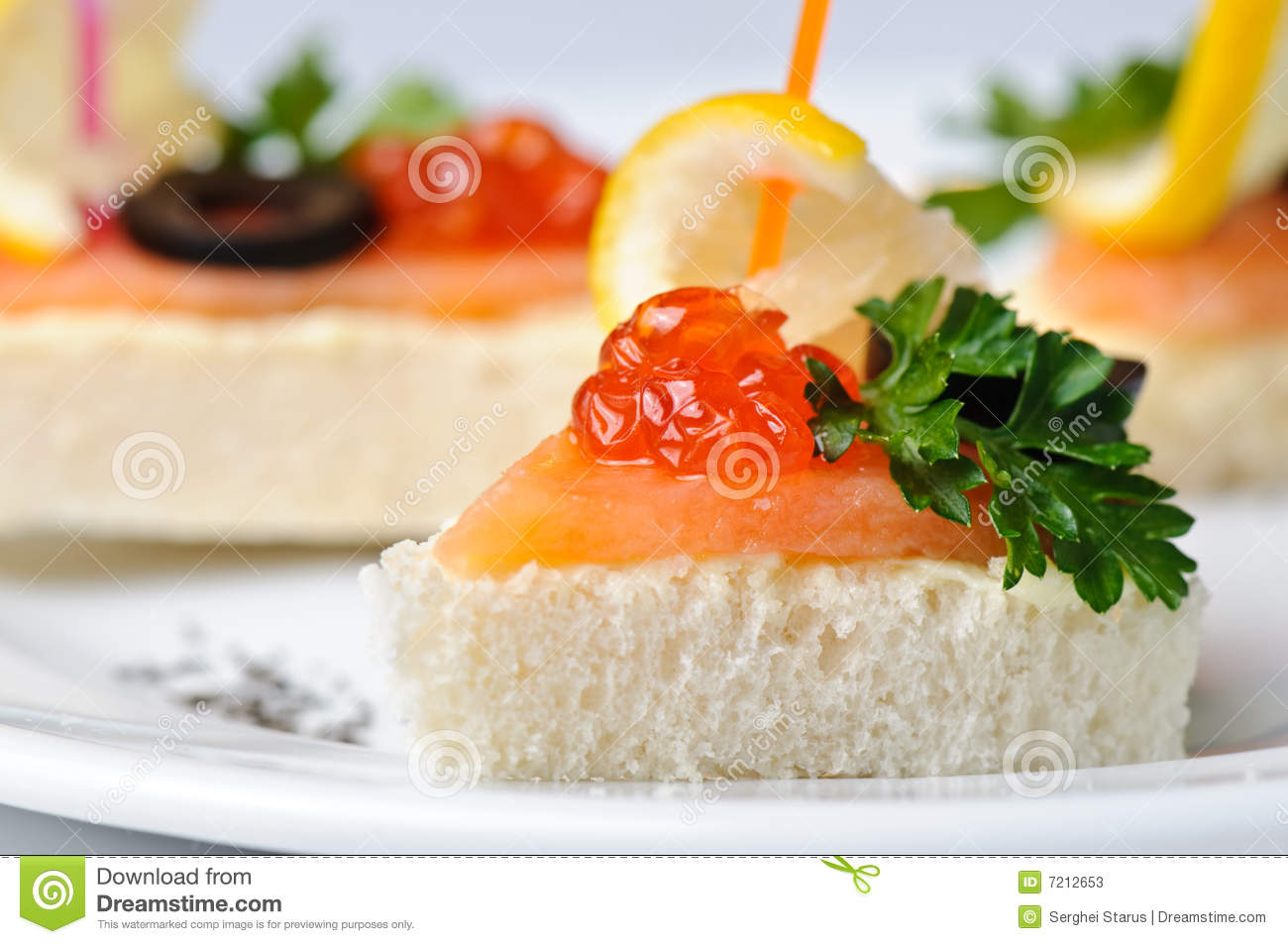 Canape with red caviar and smoked salmon stock photos for Canape with caviar