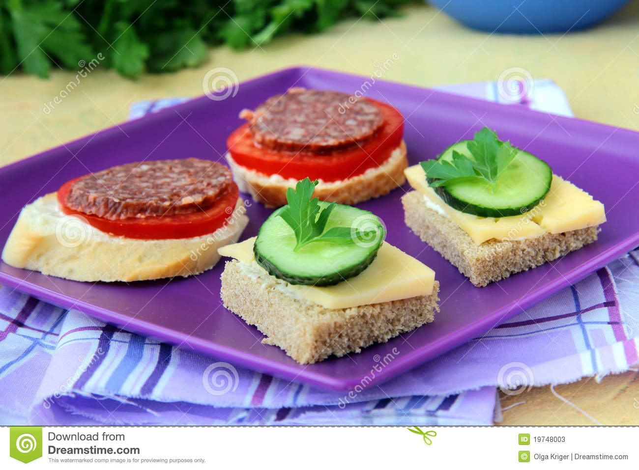 Canape sandwiches with cheese and salami stock photos for Canape with cheese