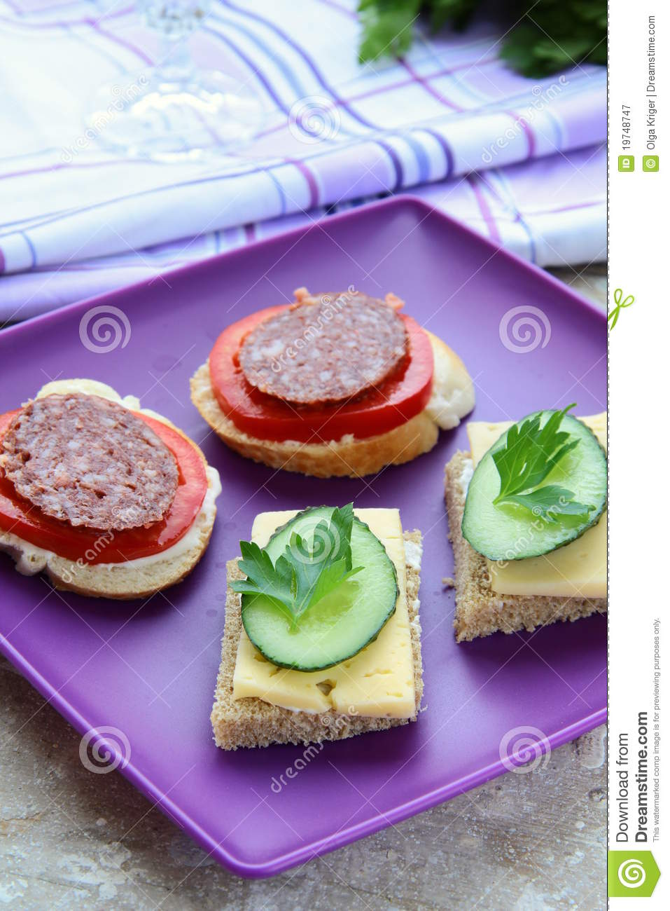 Canape sandwiches with cheese and salami royalty free for Canape sandwich