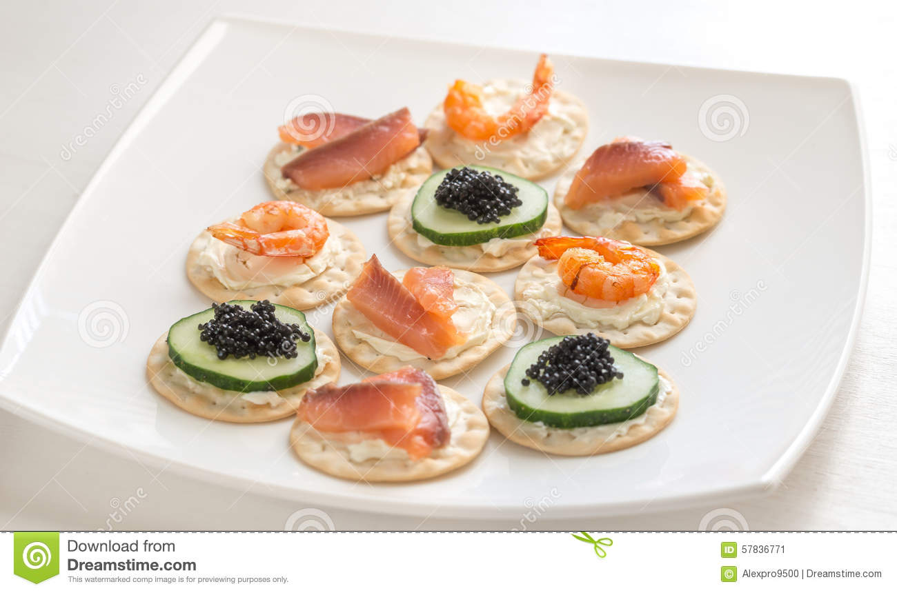 canape with seafood on the plate stock photo image 57836771. Black Bedroom Furniture Sets. Home Design Ideas