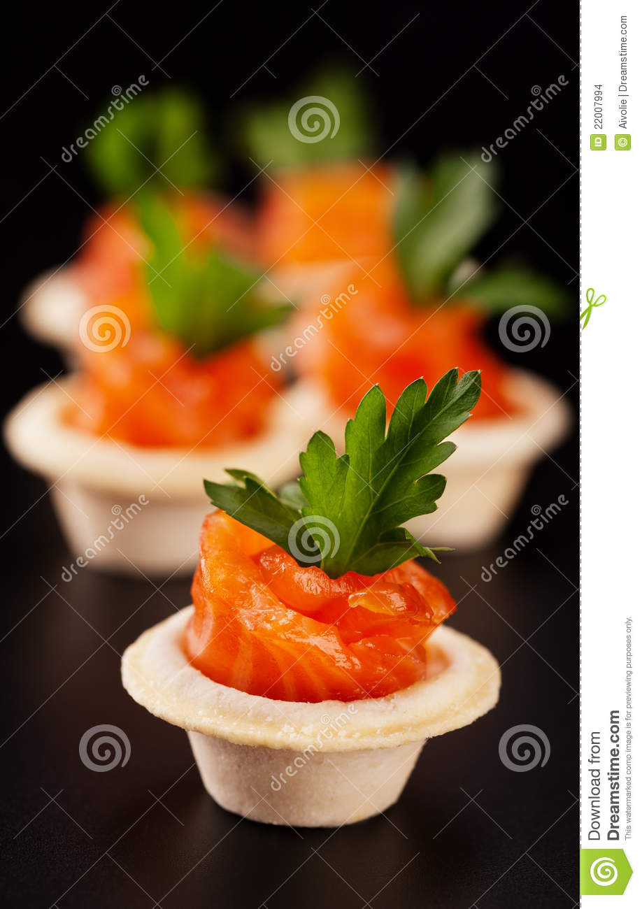 Canape with smoked salmon stock images image 22007994 for Smoked trout canape