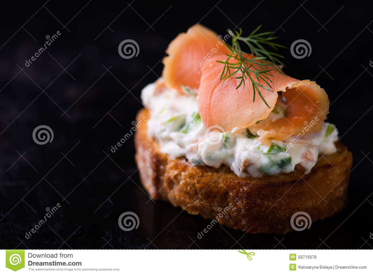 Canape with smoked salmon and cream cheese stock photo for Smoked salmon cream cheese canape