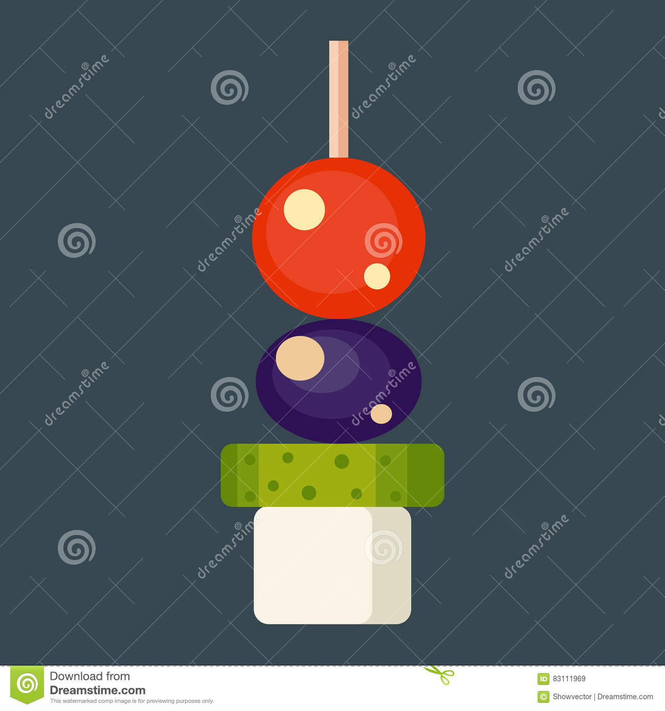 Ham with vegetable vector illustration isolated vector for Canape vector download