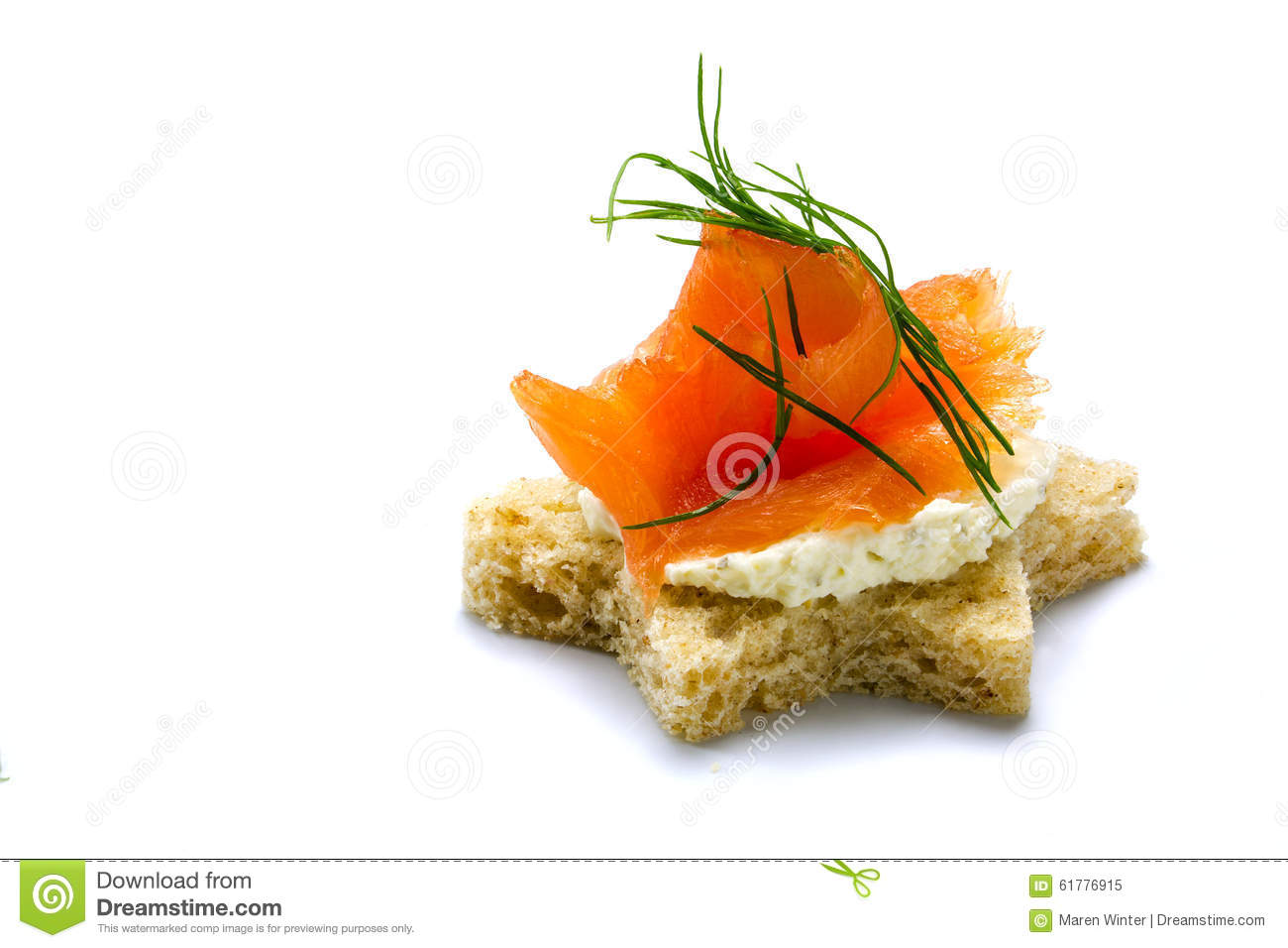 Canape in star shape with smoked salmon for christmas for Canape garnishes