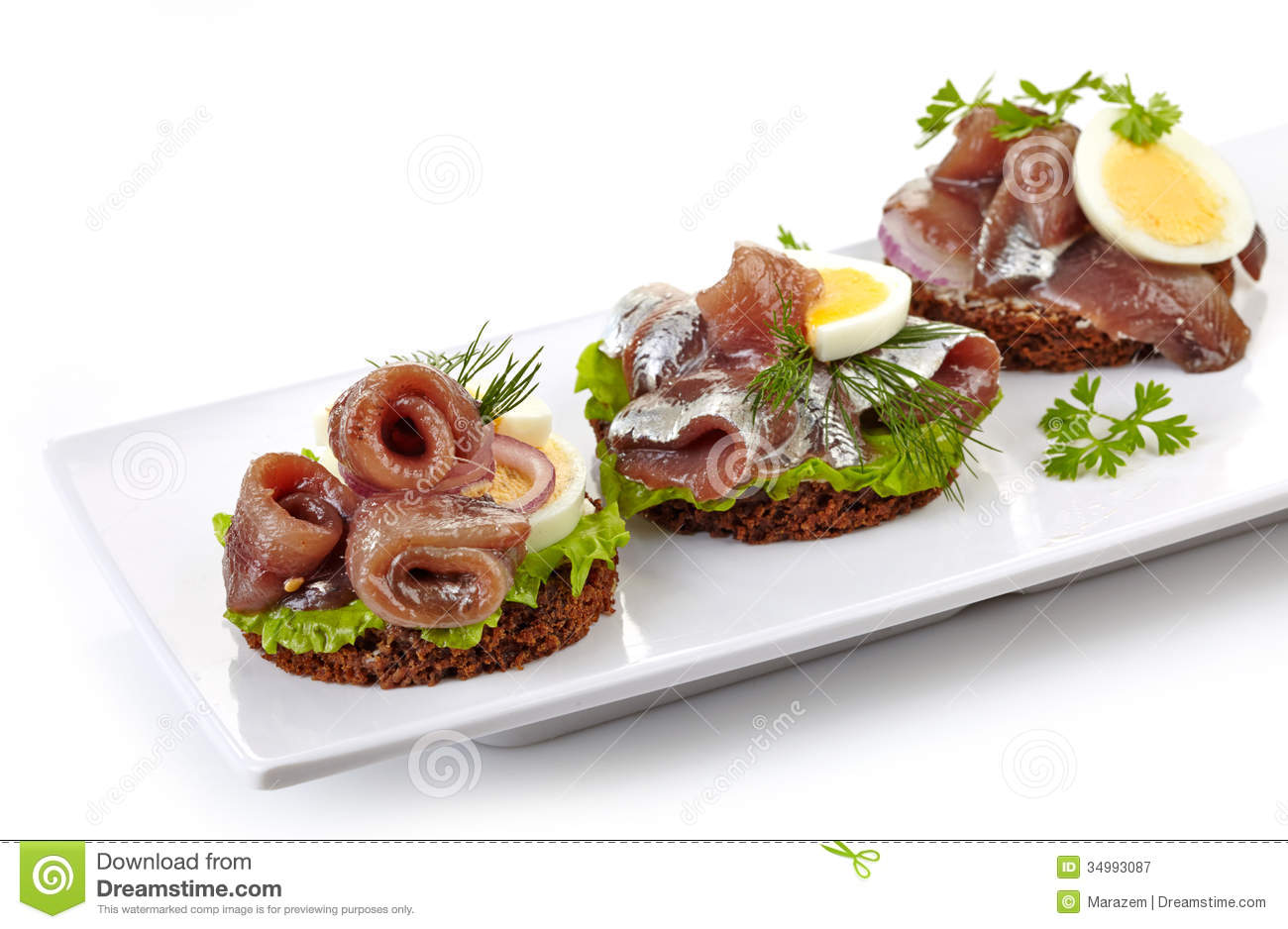 Canapes with anchovies and egg stock image image of for Breakfast canape