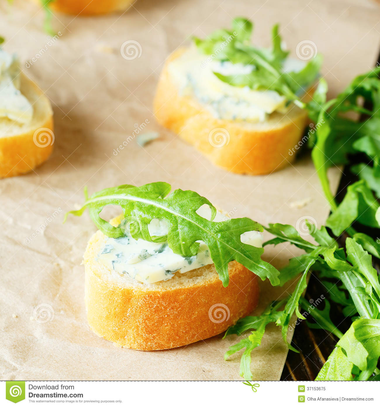 Canapes with blue cheese for breakfast royalty free stock for Blue cheese canape