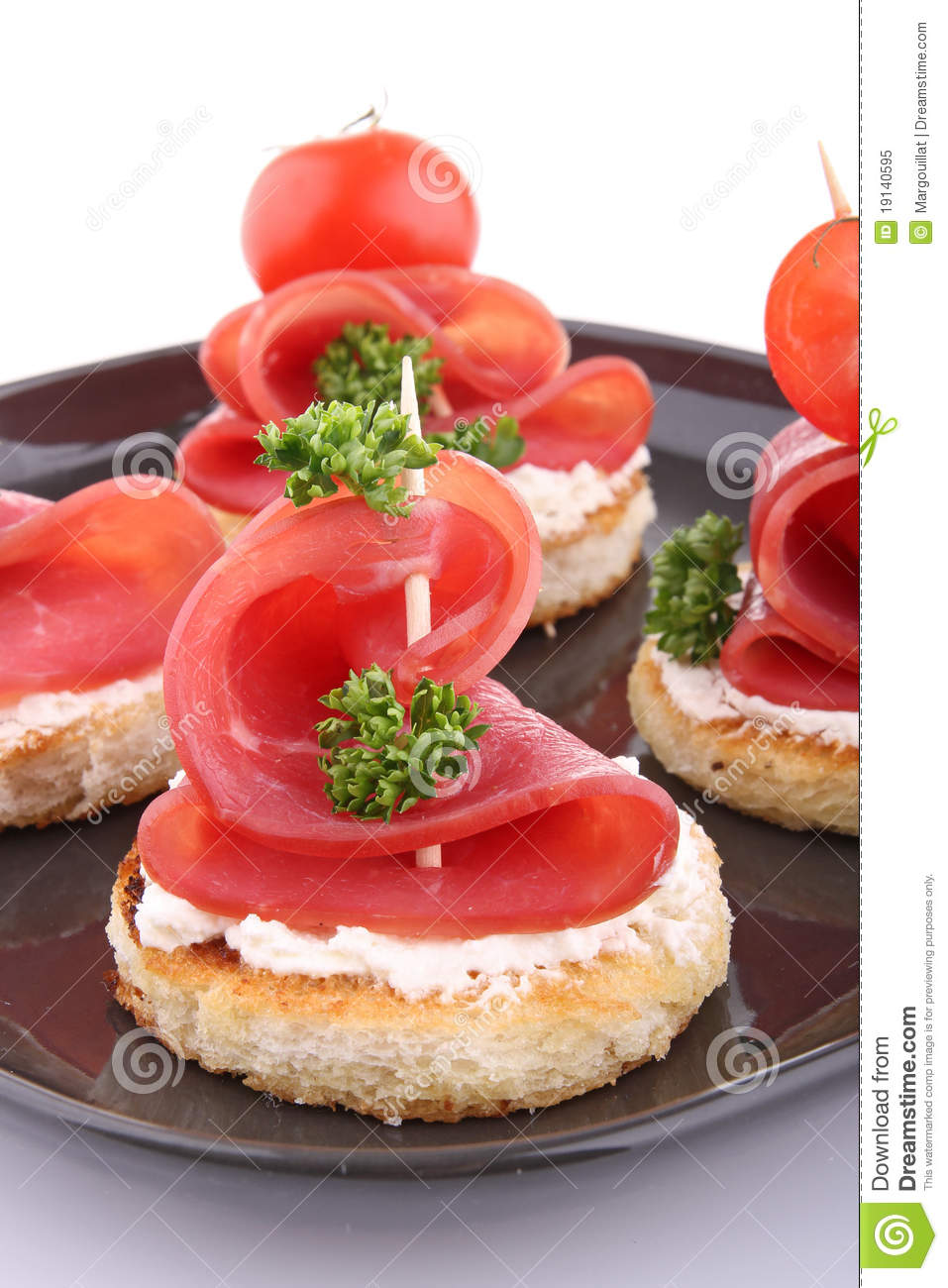 Canapes with cheese and bacon stock image image of snack for Appetizer canape