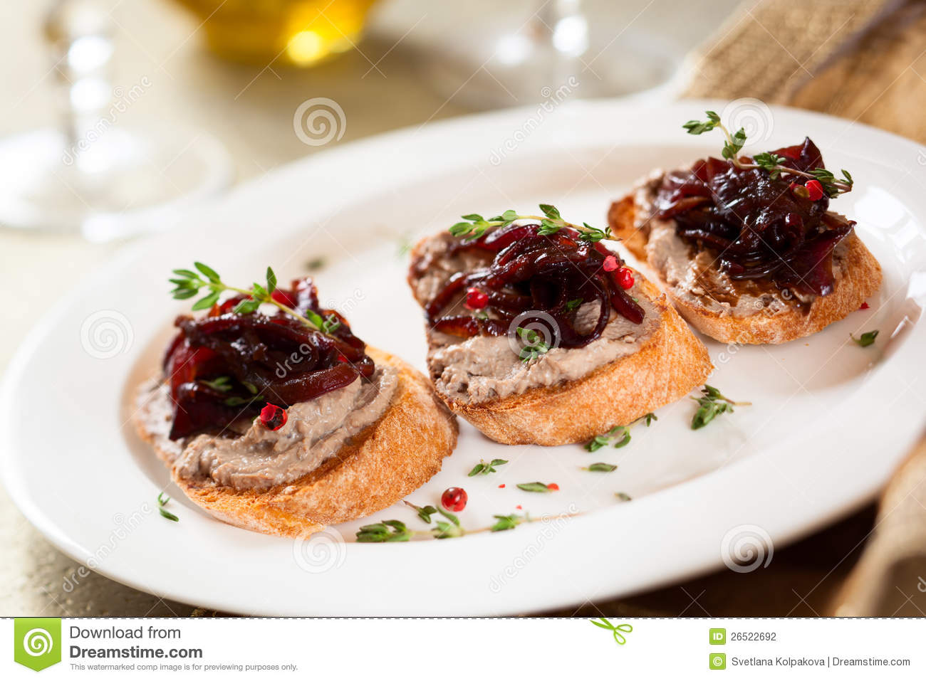 Canapes with chicken liver pate stock photo image of - Photo canape ...