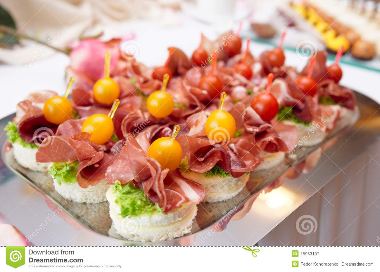 Canapes with cured ham stock image image of food metal for Canape reception