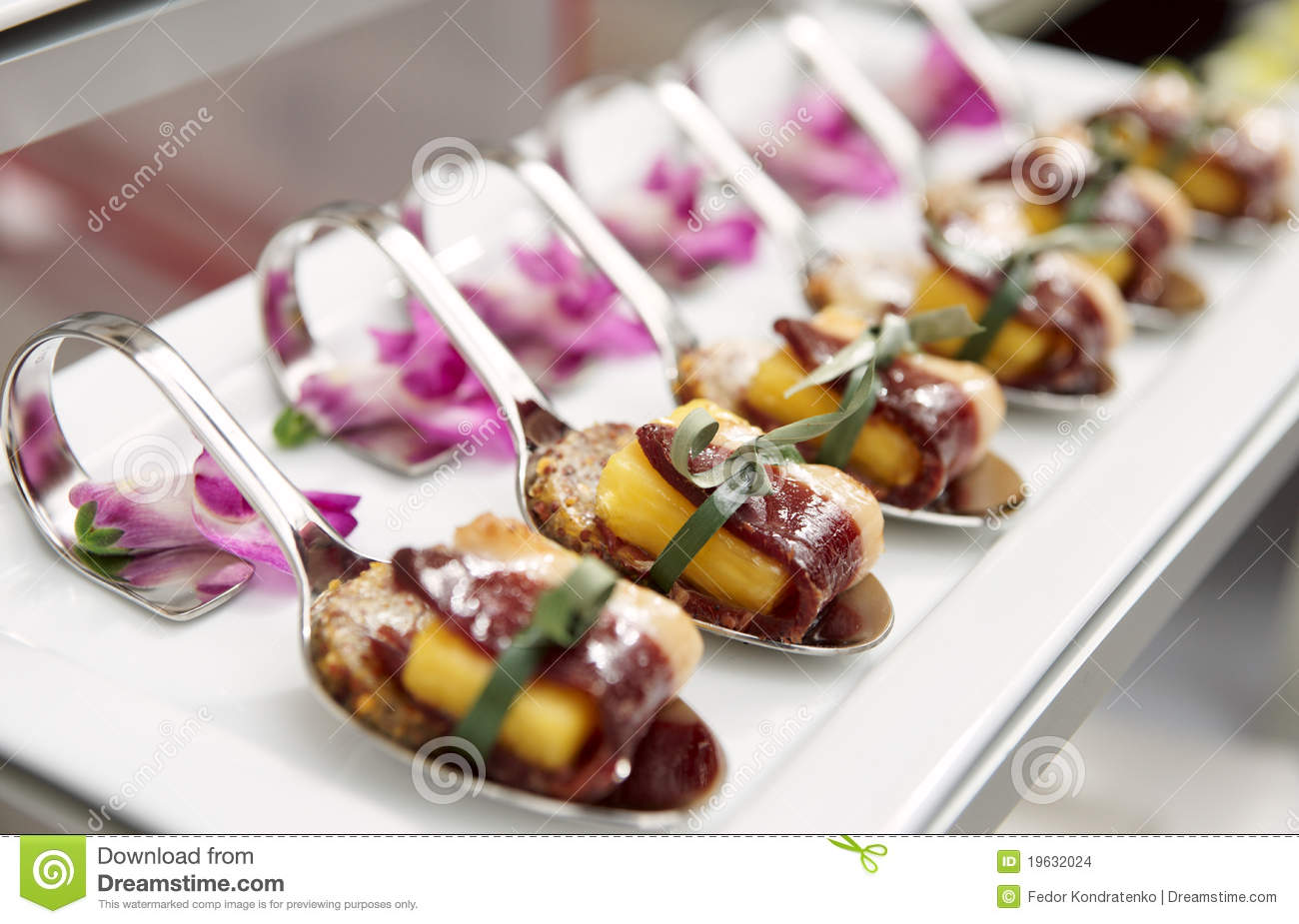Canapes with cured ham on banquet table stock images for Canape table