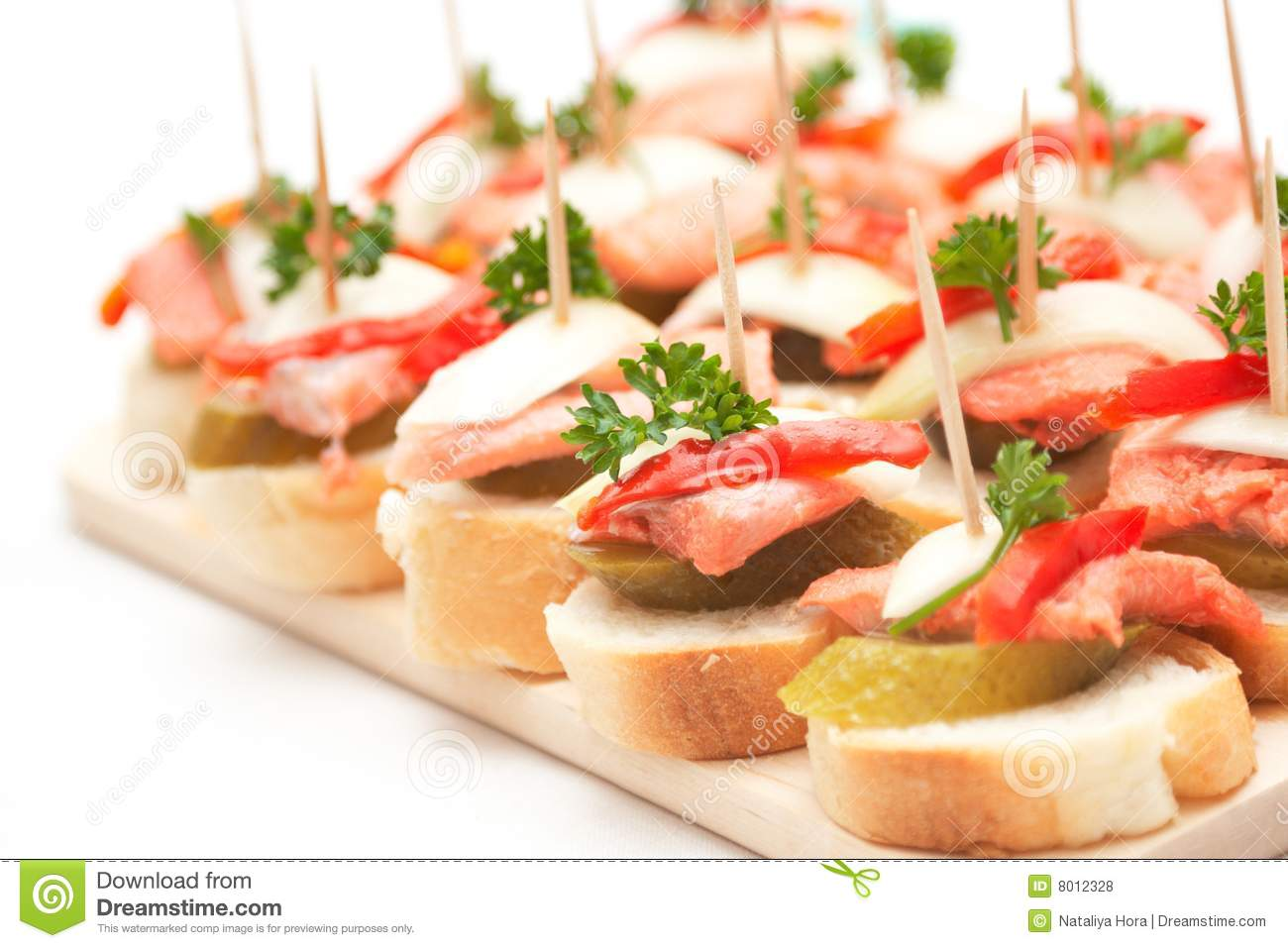 Canapes with fish stock photo image of elegance prepared for Breakfast canape