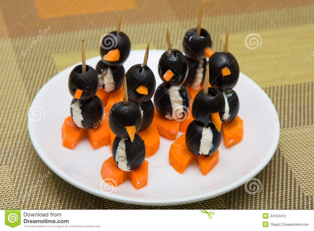 Canapes in the form of a penguin stock photography image - Canape original colore ...