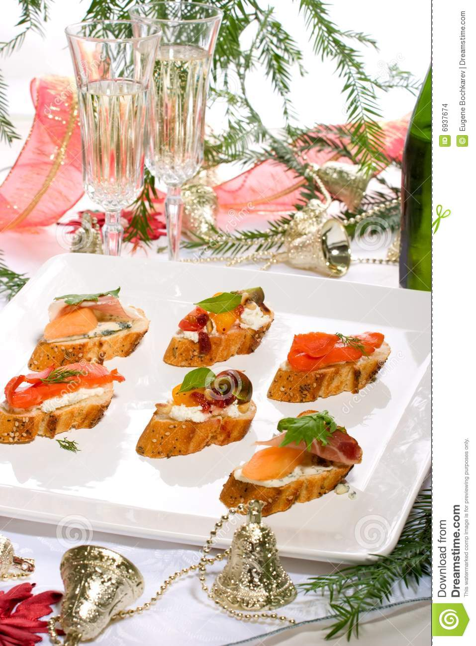 Canapes on holiday table stock images image 6937674 for Christmas canape