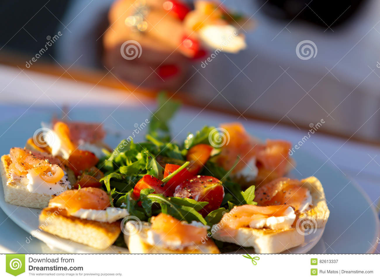 Canapes on plate stock image image of bites plate for What is a canape plate