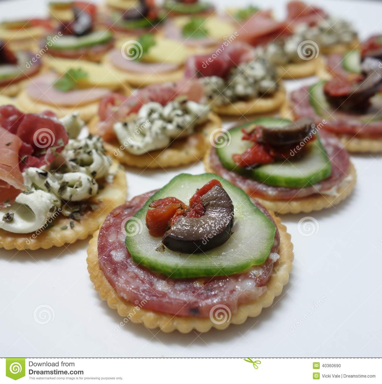 Canapes stock photo image 40360690 for Smoked salmon cream cheese canape