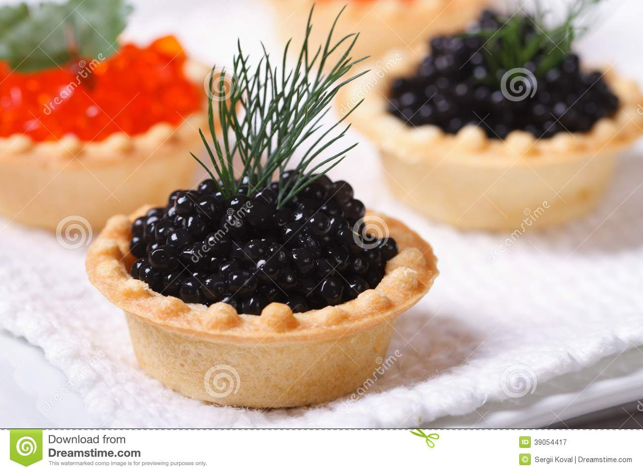 Canapes with red and black fish caviar stock photo image for Canape with caviar