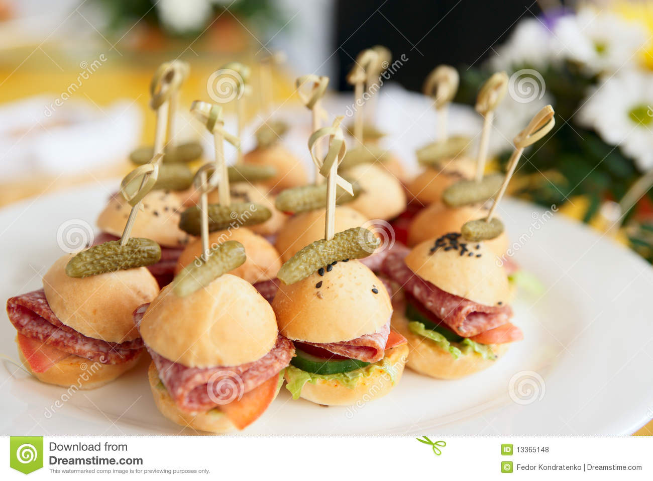 canapes on restaurant table daylight royalty free stock