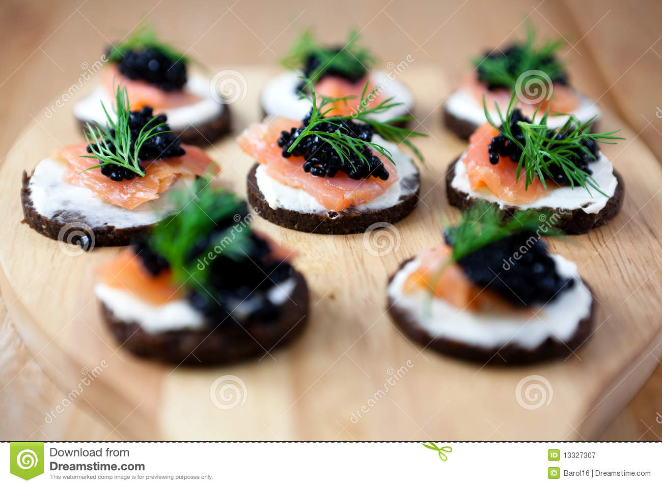 Canapes with salmon and caviar royalty free stock for Canape with caviar