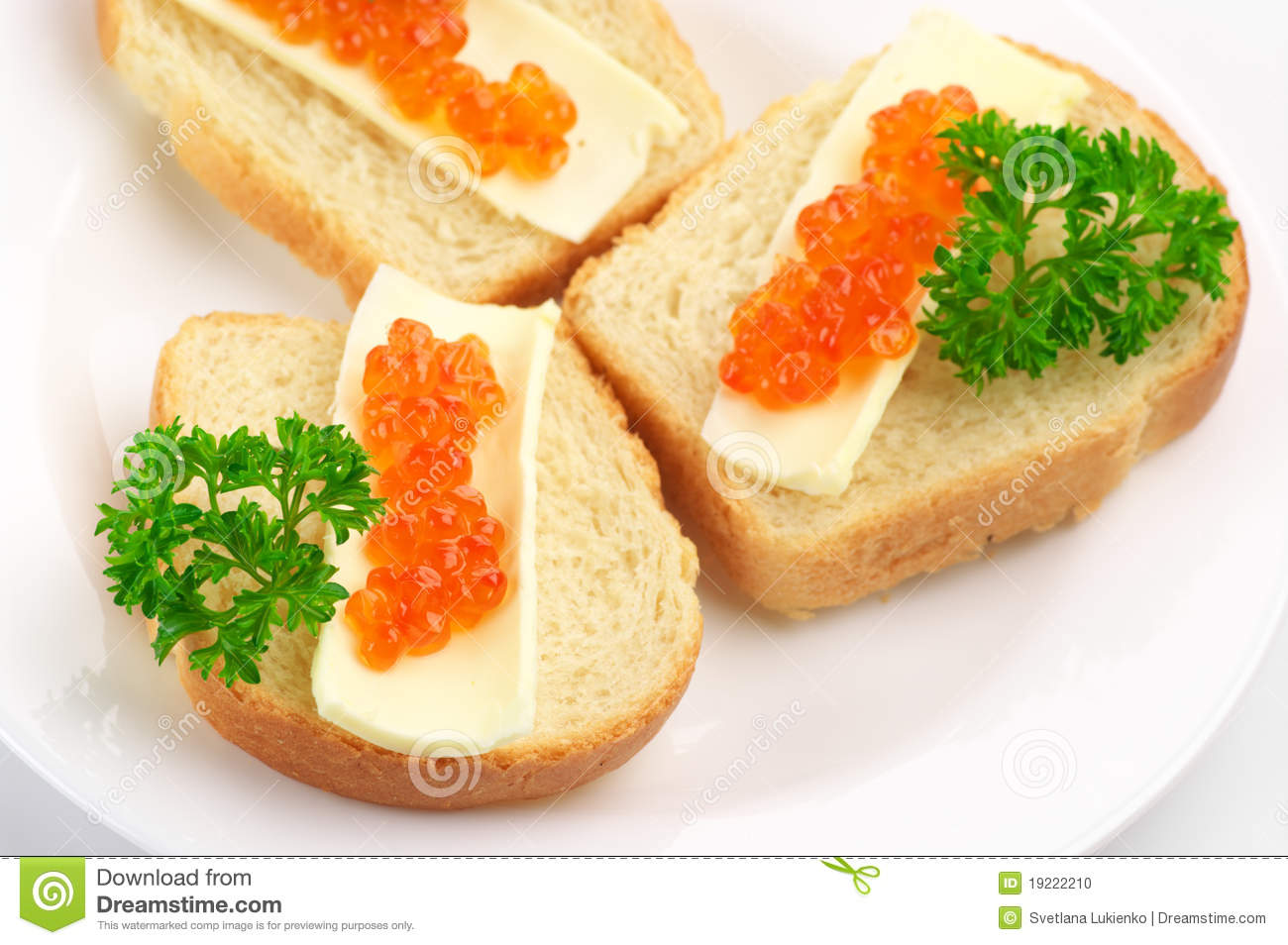 Canapes with salmon caviar stock photo image 19222210 for Canape with caviar