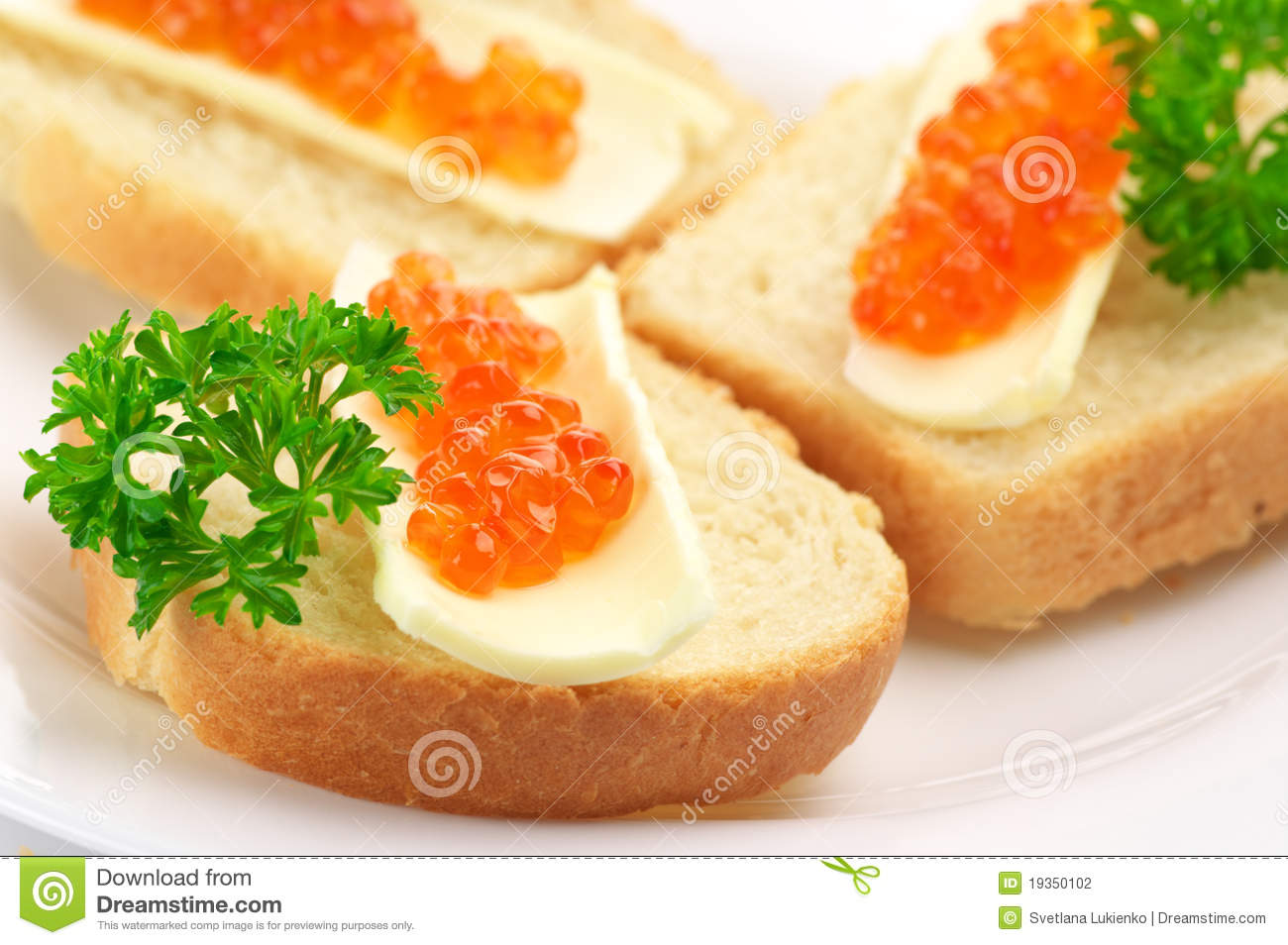 Canapes with salmon caviar stock photography image 19350102 for Canape with caviar