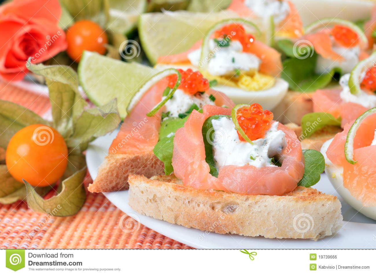 Canapes with salmon and caviar royalty free stock image for Canape with caviar